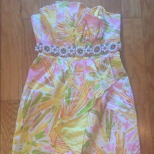Lilly Pulitzer Sz 00 Dress Rhinestones Pink Yellow